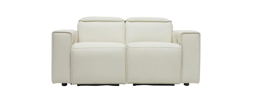 Sofá relax eléctrico en cuero blanco con reposacabezas ajustables RUIZ - cuero de vaca