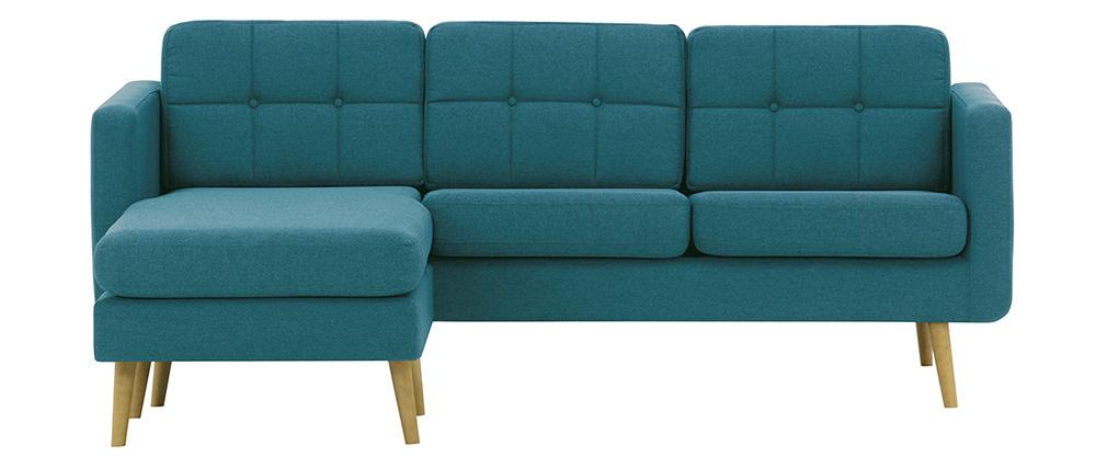 Sofá rinconera derecha nórdico en tejido azul petróleo y madera ELFE