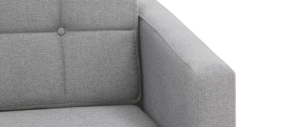 Sofá rinconera derecha nórdico en tejido gris claro y madera ELFE