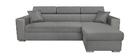 Sofá rinconera gris convertible 3 plazas con reposa cabezas ajustables y cofre LEONE