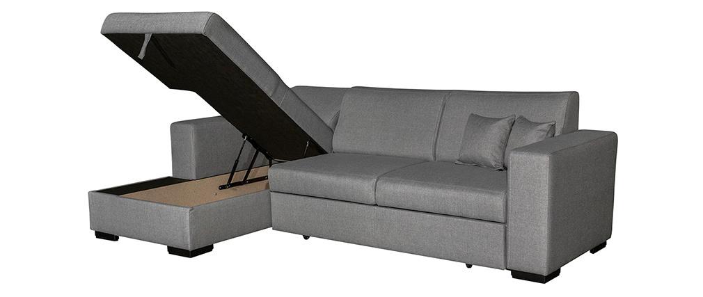 Sofá rinconera izquierda convertible con almacenaje gris PERRY