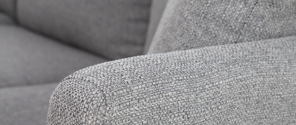 Sofá rinconera nórdico 5-6 plazas en tejido gris claro OSLO
