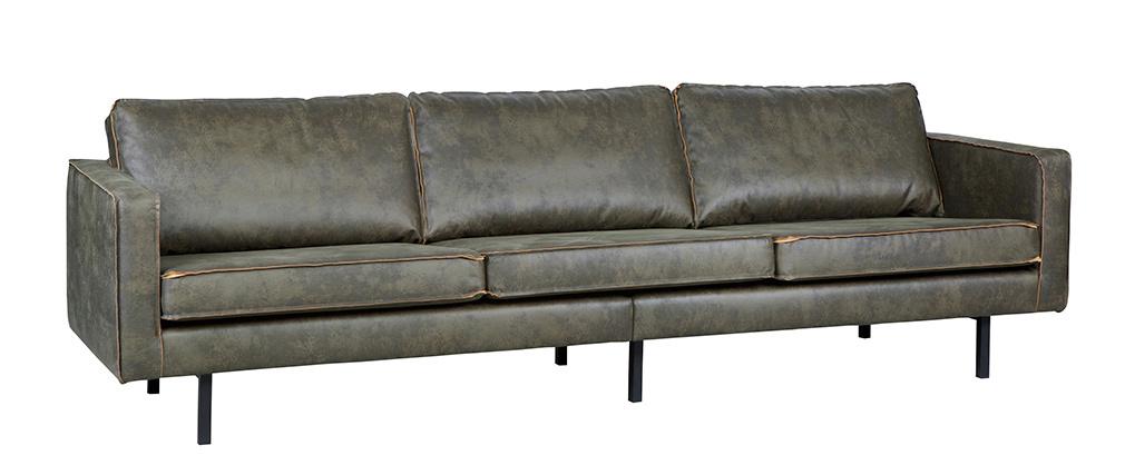 Sofá vintage cuero verde oscuro 4 plazas ASPEN - cuero reconstituido