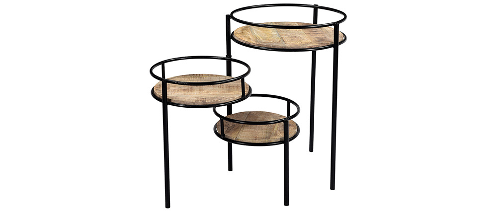 Soporte para plantas modulable en metal y mango THREE