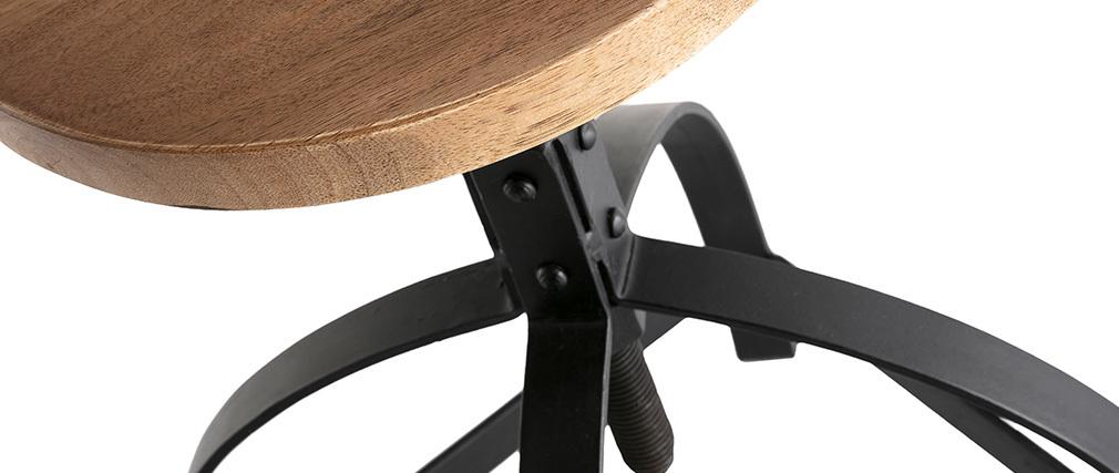 Taburete auxiliar metal y madera A65cm INDUSTRIA