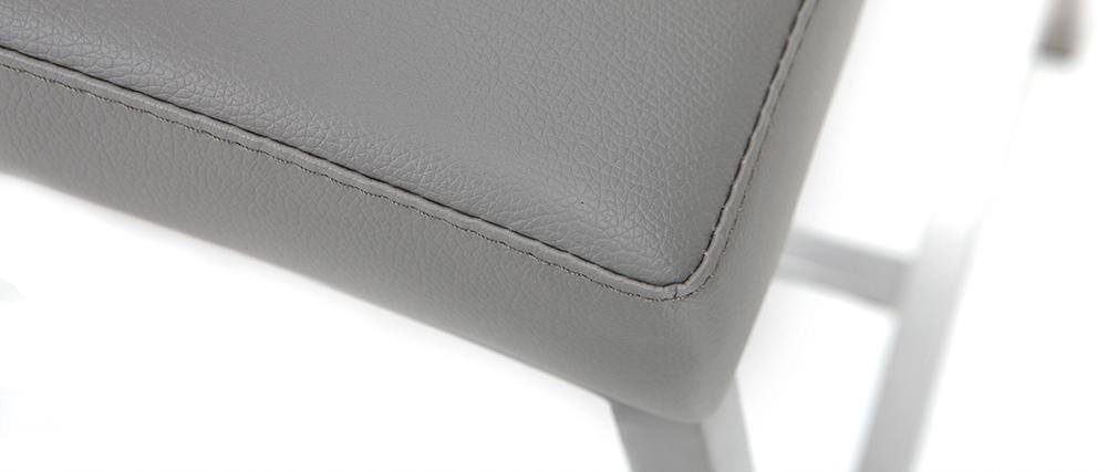 Taburete de bar aluminio cepillado PU gris claro 66cm lote de dos OLLY