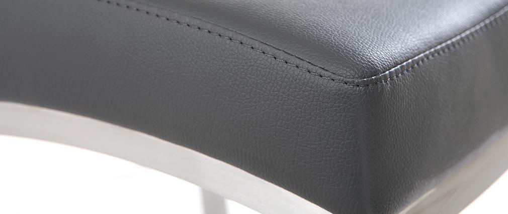Taburete de bar aluminio cepillado PU gris oscuro 66cm  lote de dos OLLY