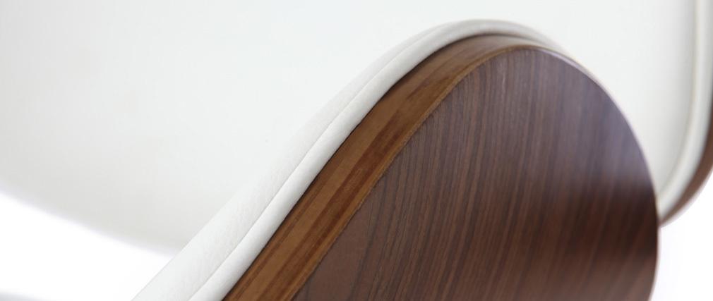 Taburete de bar de diseño blanco y madera WALNUT