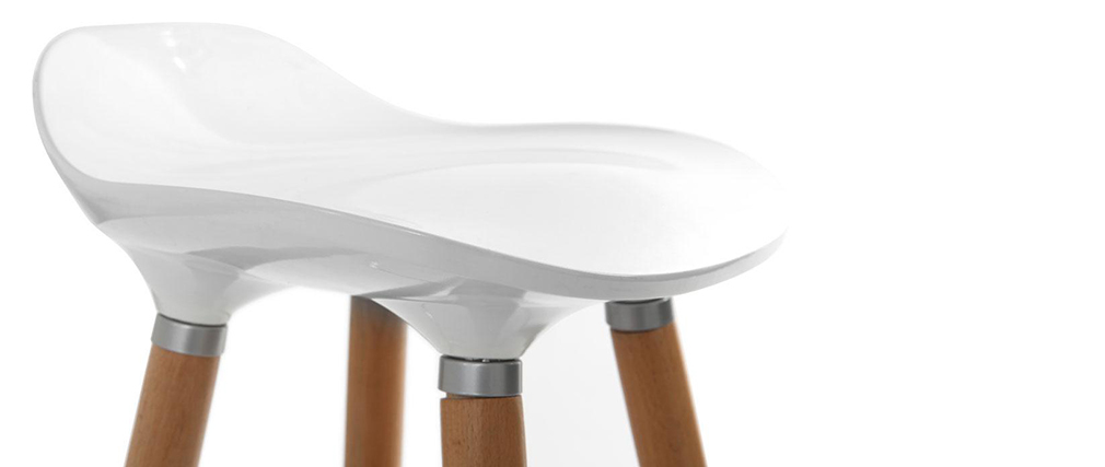 Taburete de bar de diseño escandinavo blanco GILDA