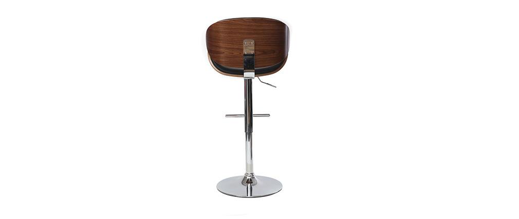 Taburete de bar de diseño negro y madera WALNUT