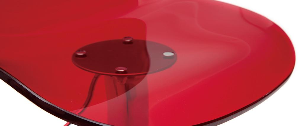 Taburete de bar de diseño rojo transparente GALILEO