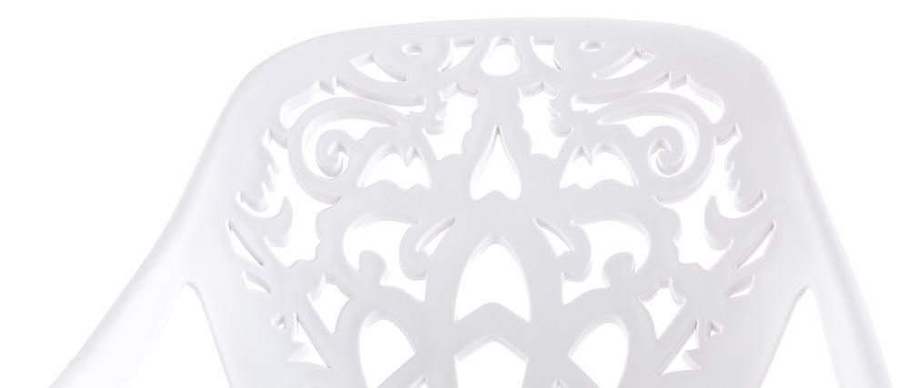 Taburete de bar diseño barroco blanco BAROCCA