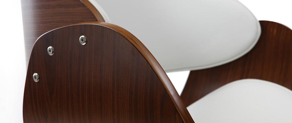 Taburete de bar diseño blanco y madera BENT