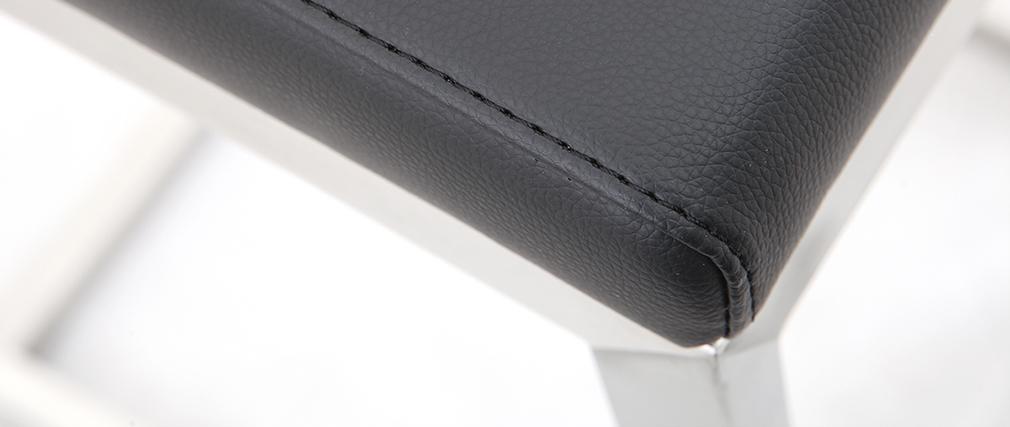 Taburete de bar diseño contemporáneo - aluminio y PU negro  lote de dos STELLAR
