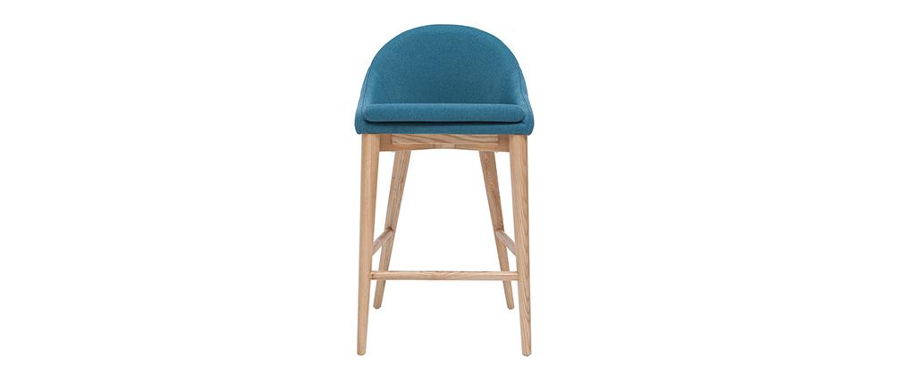 Taburete de bar diseño madera poliéster azul petróleo 67cm DALIA