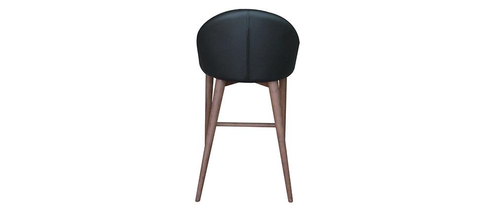 Taburete de bar diseño madera PU negro 65cm DALIA