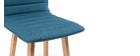 Taburete de bar diseño madera y azul petróleo 65cm lote de 2 EMMA