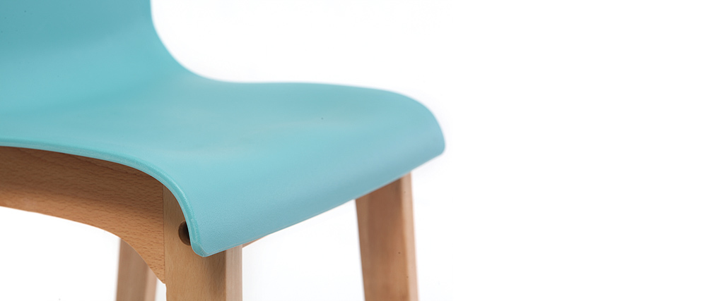 Taburete de bar diseño madera y azul petróleo 65cm lote de 2 NEW SURF