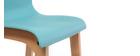 Taburete de bar diseño madera y azul petróleo 75cm lote de 2 NEW SURF