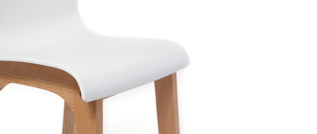 Taburete de bar diseño madera y blanco 65cm lote de 2 NEW SURF