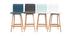 Taburete de bar diseño madera y polipiel blanco 65cm lote de 2 EMMA