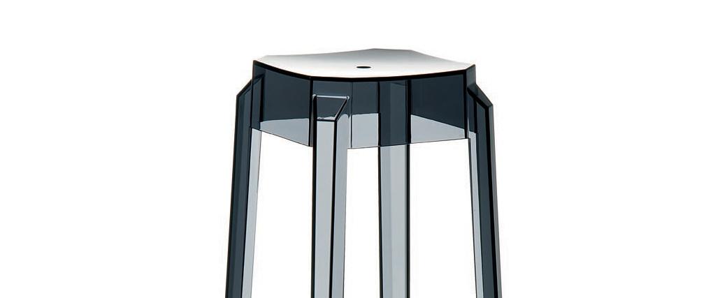 Taburete de bar diseño negro transparente 65cm lote de 2 CLEAR