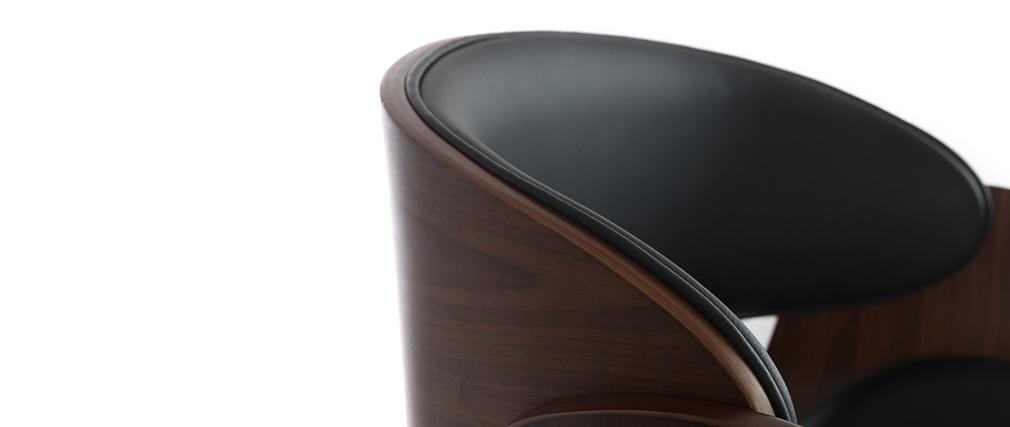 Taburete de bar diseño negro y madera BENT