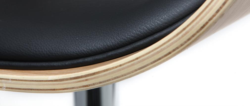 Taburete de bar diseño negro y madera clara BENT