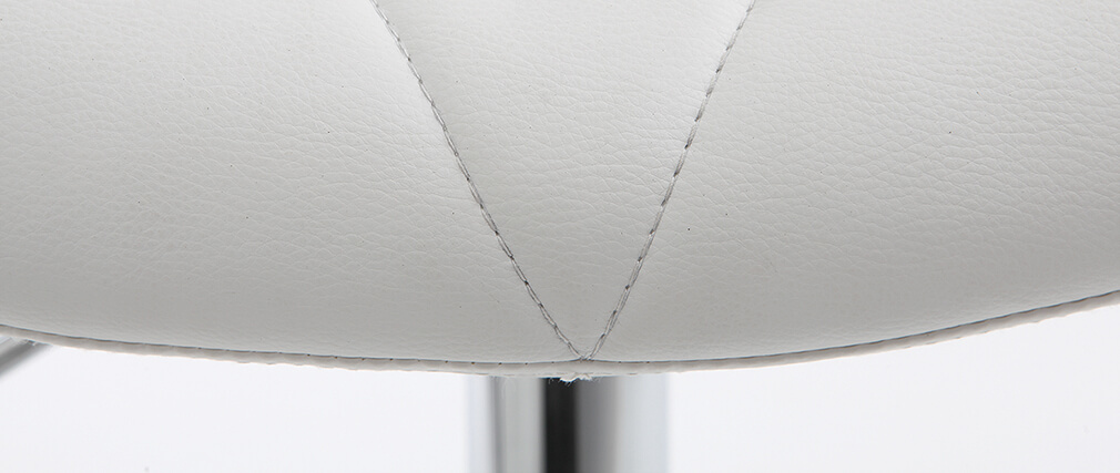 Taburete de bar diseño PU blanco lote de 2 DEREK