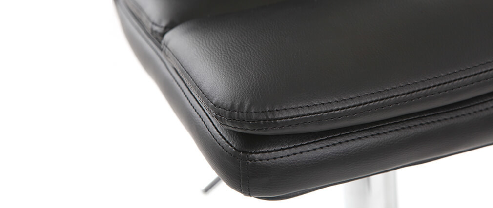 Taburete de bar diseño PU negro lote de 2 CLARK