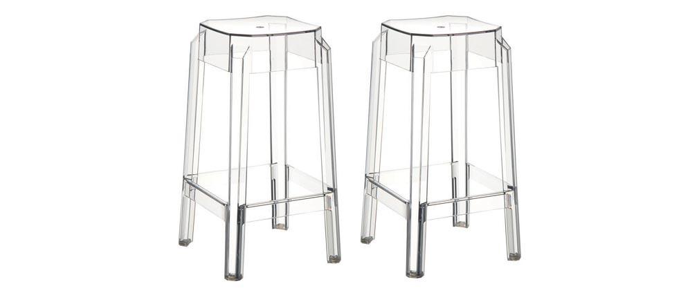 Taburete de bar diseño transparente 75cm lote de 2 CLEAR