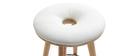 Taburete de bar escandinavo 65cm PU blanco patas madera clara NORDECO