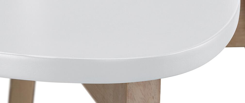 Taburete de bar escandinavo blanco y madera 75cm lote de 2 LEENA