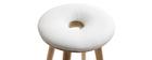 Taburete de bar estilo escandinavo blanco patas madera clara  79cm  NORDECO