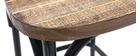Taburete de bar industrial en madera y metal envejecido negro 65 cm JAKE