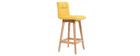 Taburete de bar madera y amarillo 65cm lote de 2 KLARIS