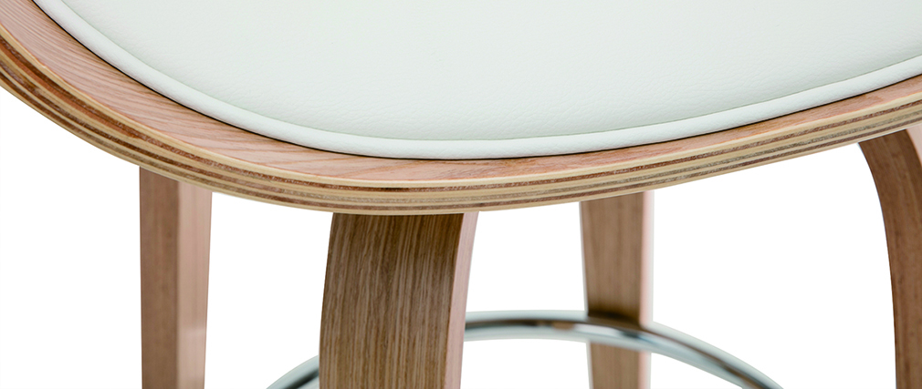 Taburete de bar moderno blanco y madera clara 65 cm BENT