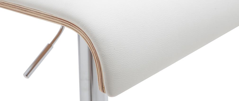 Taburete de bar moderno regulable blanco y madera clara DELICACY