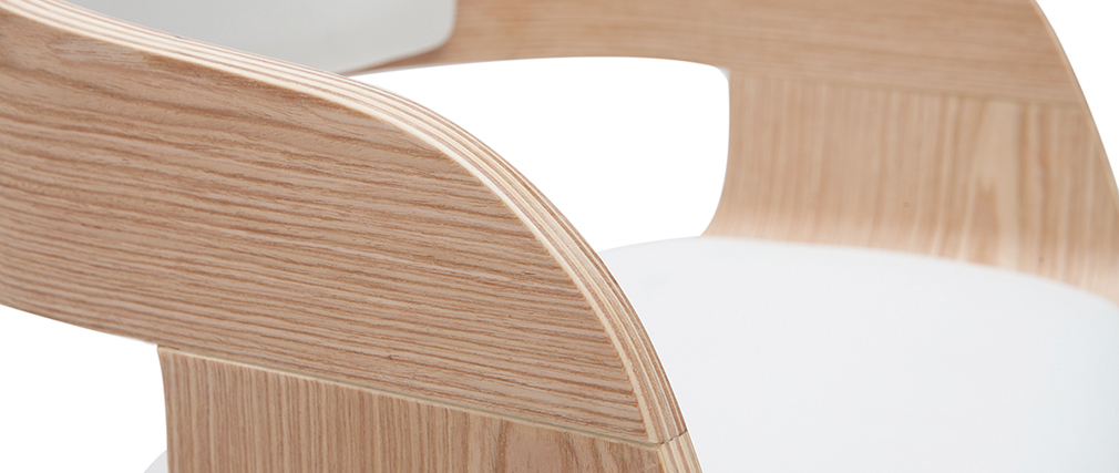 Taburete de bar moderno regulable blanco y madera clara EUSTACHE