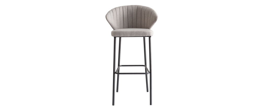 Taburete de bar moderno tejido gris 75cm DALLY