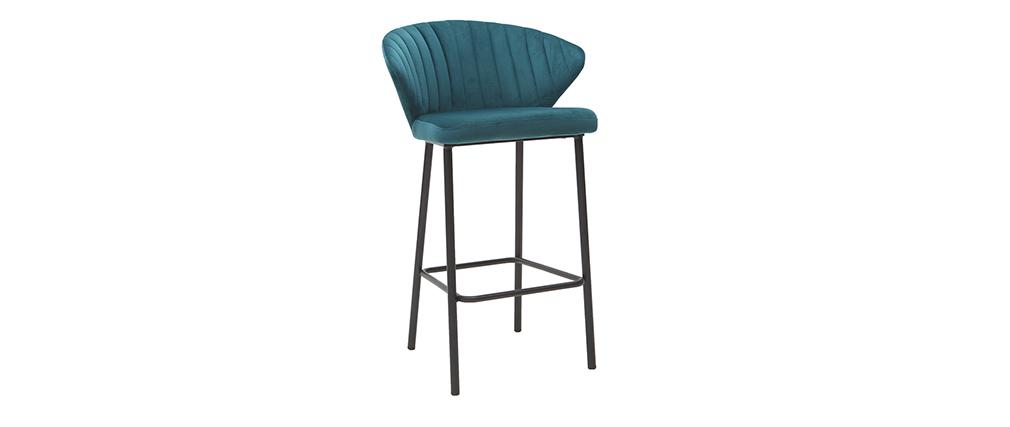 Taburete de bar moderno terciopelo azul 65 cm DALLY