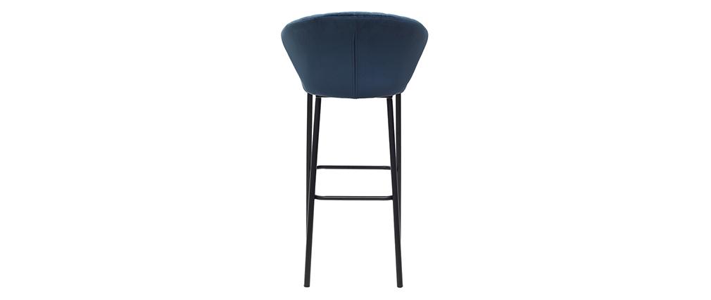 Taburete de bar moderno terciopelo azul 75cm DALLY