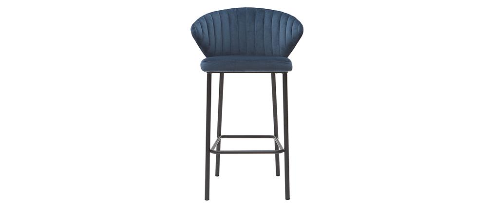 Taburete de bar moderno terciopelo azul petróleo 65 cm DALLY