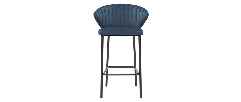Taburete de bar moderno terciopelo azul petróleo 68 cm DALLY