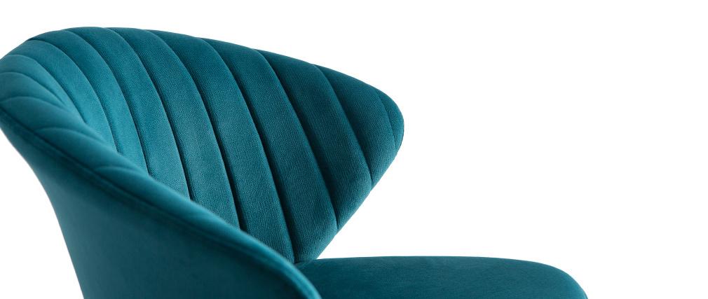 Taburete de bar moderno terciopelo azul petróleo 75cm DALLY