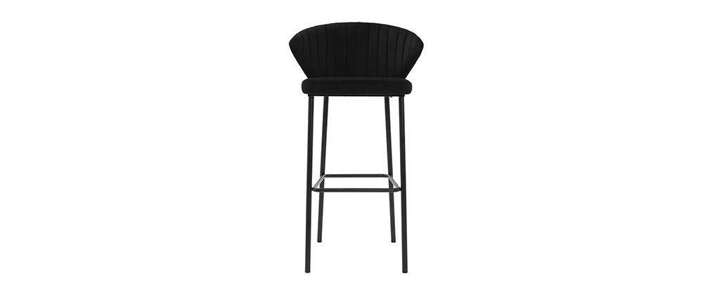 Taburete de bar moderno terciopelo negro 78 cm DALLY