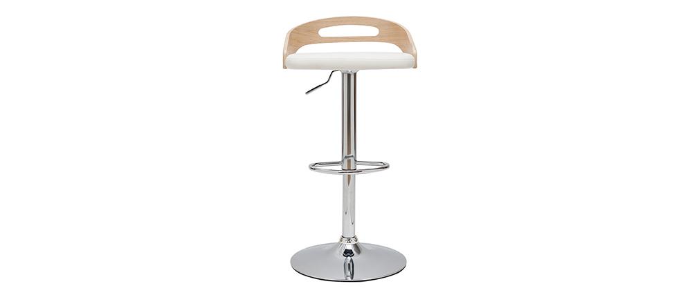 Taburete de bar regulable en altura moderno madera clara y blanco MANO