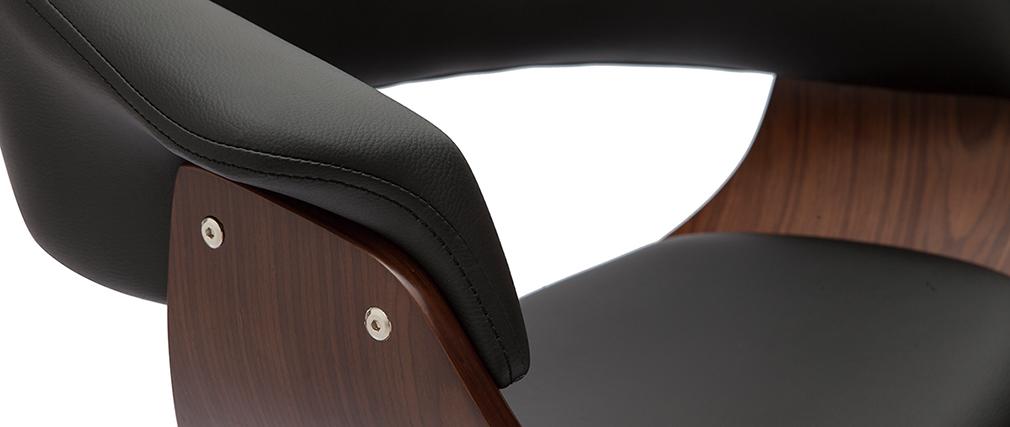 Taburete de bar regulable negro y madera oscura OKTAV