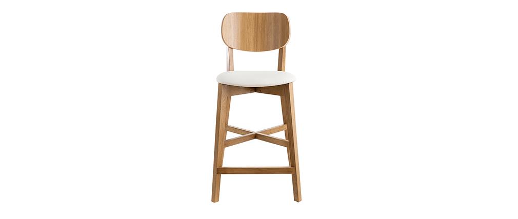 Taburete de bar roble y asiento blanco A65 cm LUCIA