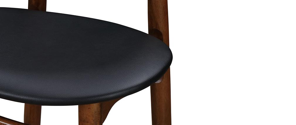 Taburete de bar vintage nogal y PU negro 65cm lote de 2 WALFORD